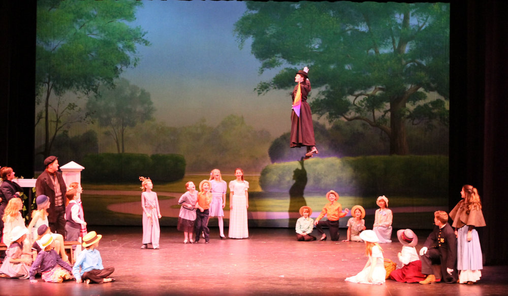 Mary flies over the park in Mary Poppins