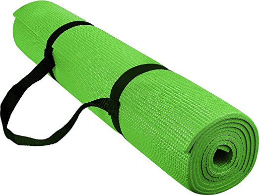 1/4-Inch High Density - Exercise Yoga Mat with Carrying Strap -