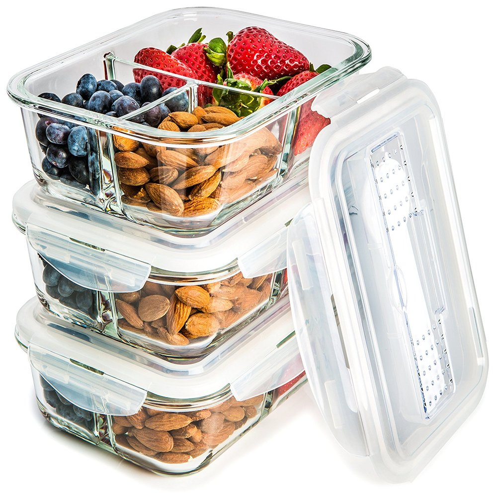 GlaSs Meal Prep Containers  with 3 Compartments & Air tight lid -