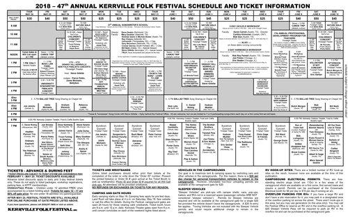 2018 Schedule — Kerrville Folk Festival