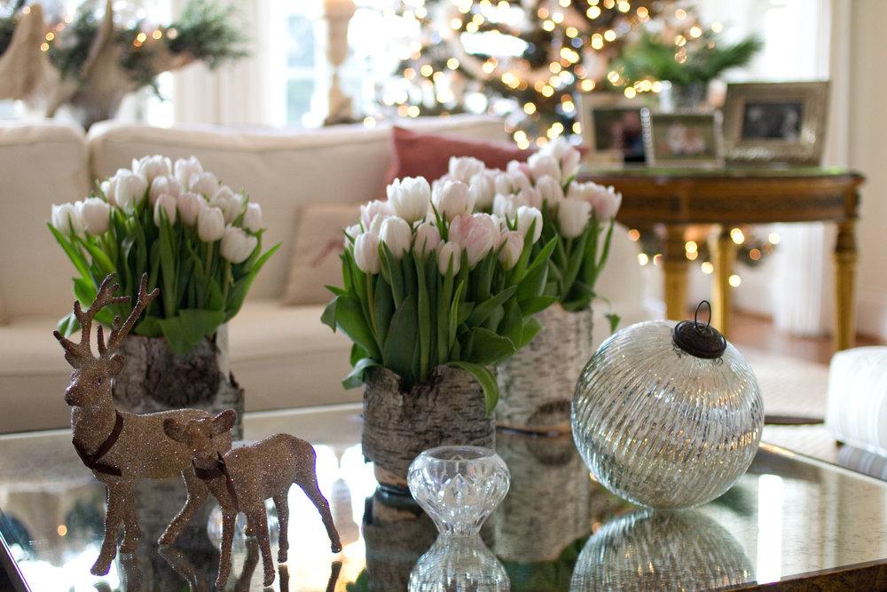 traditional interior design holiday decor, white tulips
