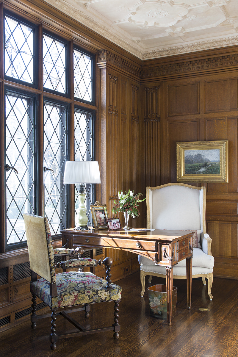 traditional interior design wall paneling with desk