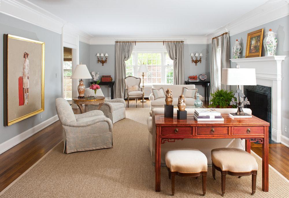 traditional interior design living room blue grey walls