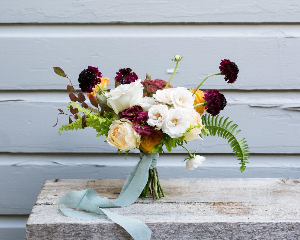 - BRIDESMAID BOUQUET |seasonal blooms, lush greenery, silk ribbon ~ $115