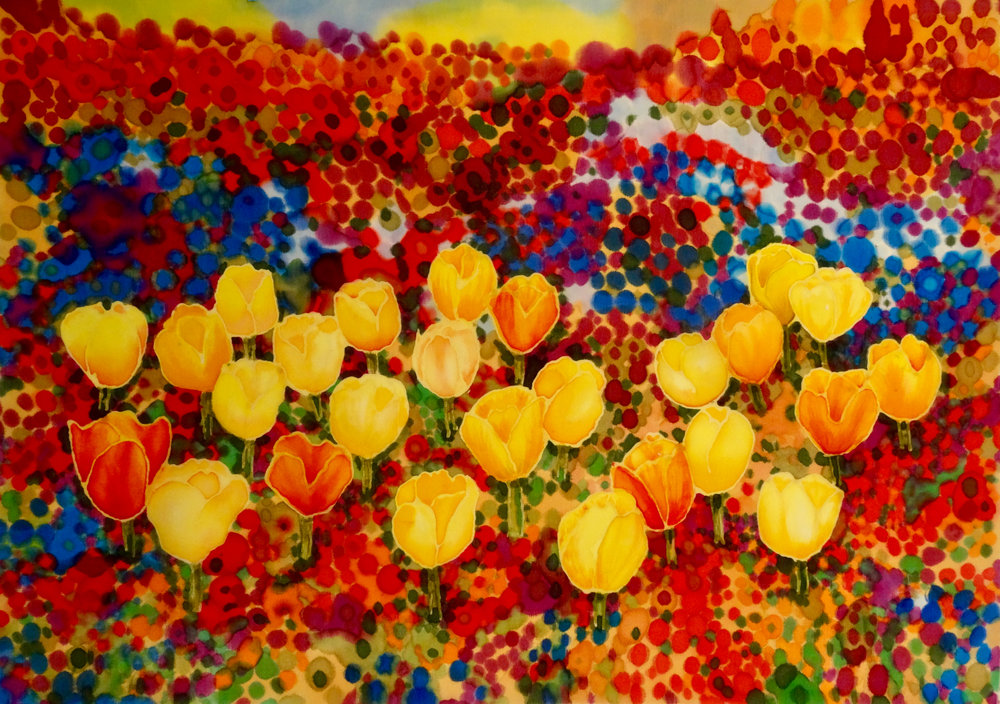 Tulips Among Wildflowers - Hand painted silk varnished on to canvas12