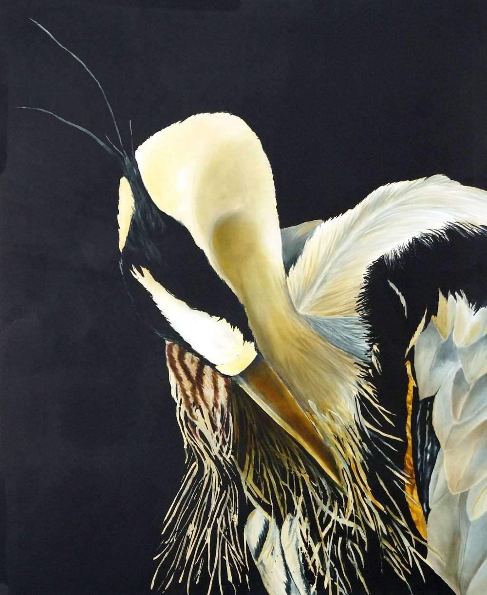 Francesco Preening - Hand painted silk varnished on to 1 3/4