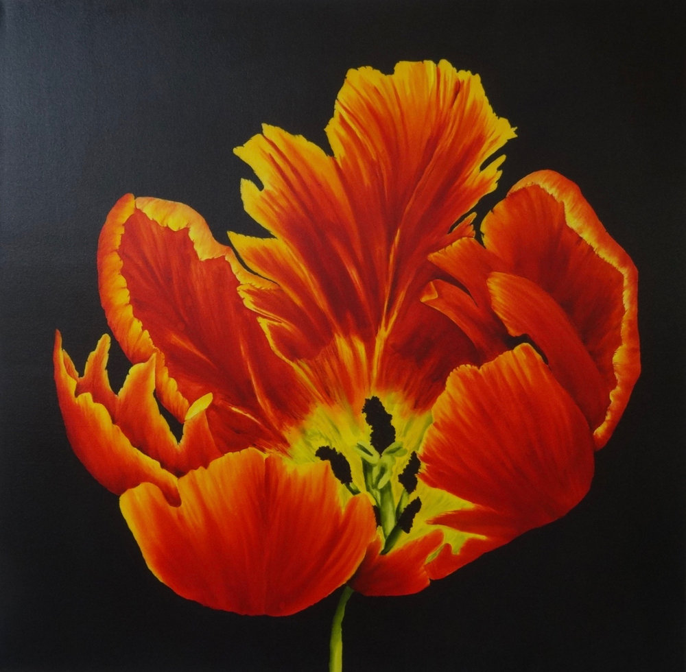 Karen's Tulip 2 - Hand painted silk - varnished to the edge on 1 3/4