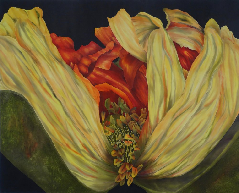 """Betty's Colors - Hand painted silk varnished on to 1 3/4"""" canvas41"""" x 33""""Framed in a black wood floater frame (42 1/4 x 34 1/2)$3500"""