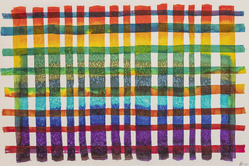 """Torn Silk - Two hand-painted silk scarves torn into strips, woven together, and varnished on to 1 1/34"""" canvas.36"""" x 24""""$250"""