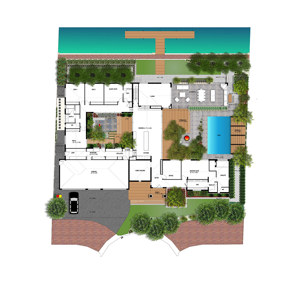 A Mandurah home with a water-wise verge, an atrium with raised planters, seating and daybed, a pool courtyard with decking, sunken fire pit & pergola & a canal side garden overlooking the jetty.