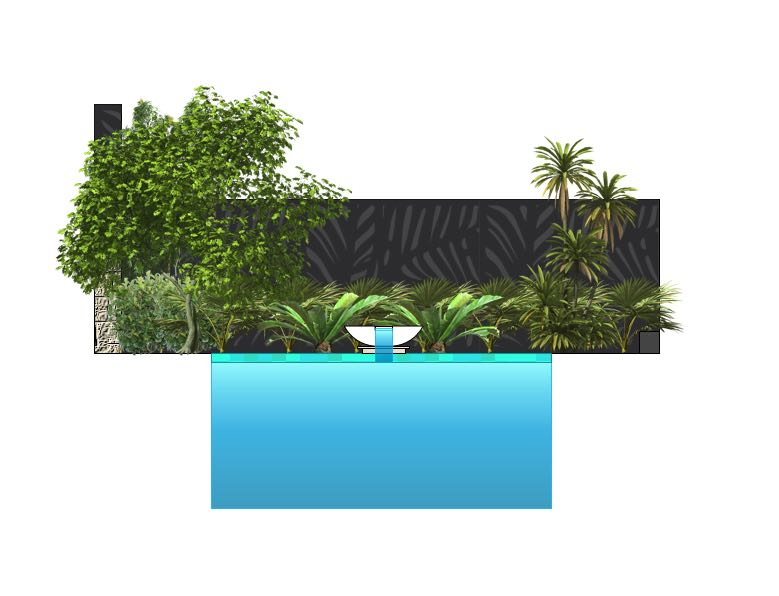 This wok bowl with spillway adds a unique waterfall effect to this swimming pool design, with lush layered plantings and Outdeco screens providing a pleasing backdrop to the space.