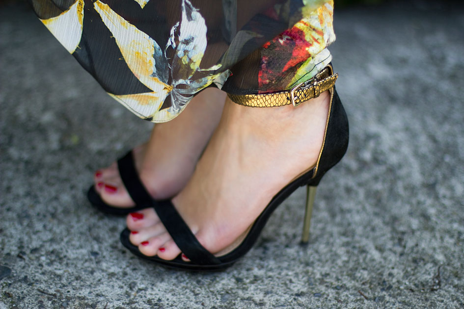 black and gold ankle strap sandal