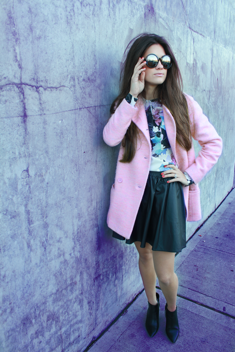 Pink Zara Pea Coat, Phillip Lim 3.1 Blouse, Lowrys Farm Leather Skirt, and Zara Boots