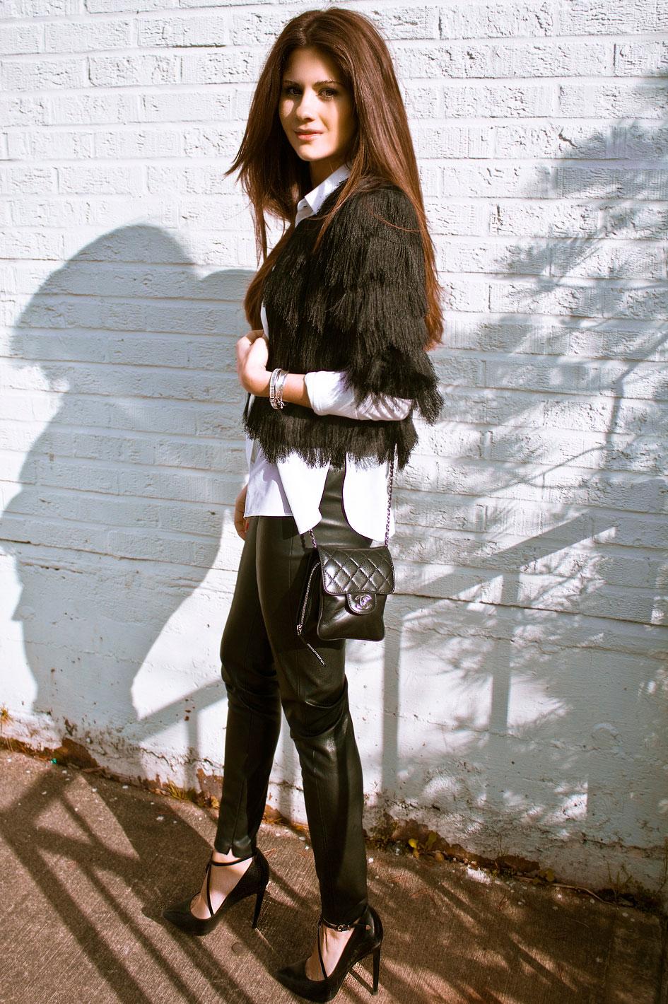 BCBGMAXAZRIA Black Tiered Fringe Jacket
