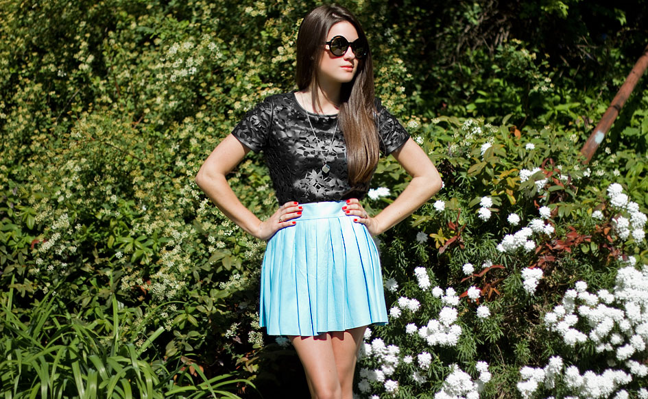 Perforated Leather Top and Skirt