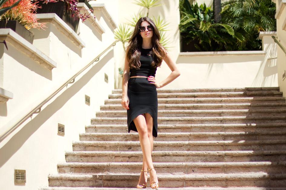 Cut-out Crop Top & High Waisted Skirt
