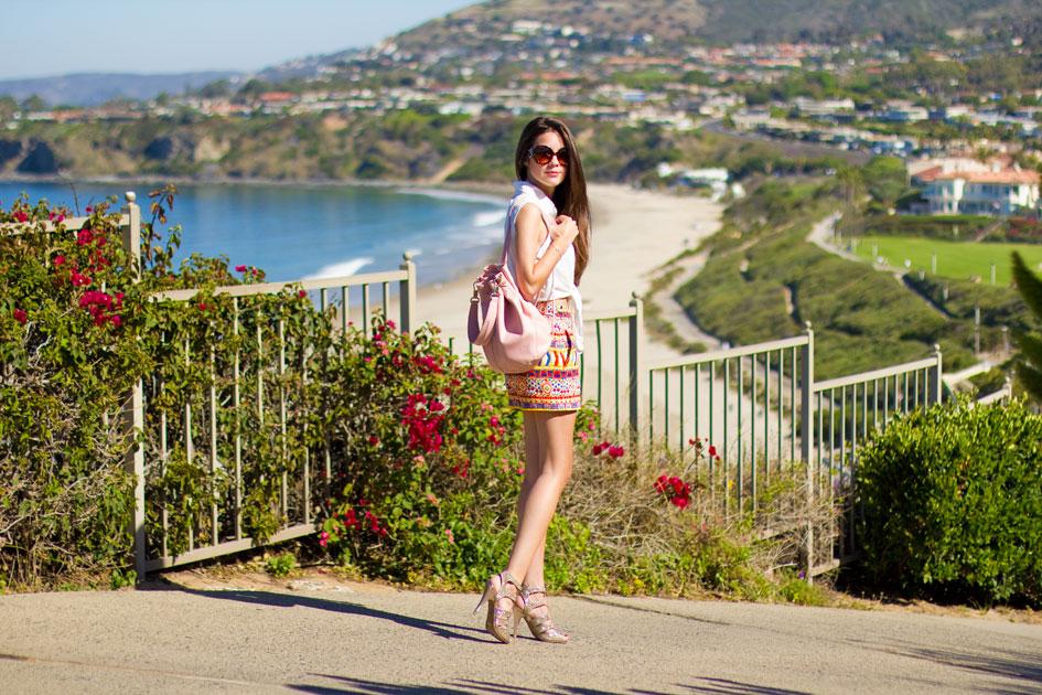 Zara High Waist Printed Shorts and Elizabeth and James Pink Sling Backpack
