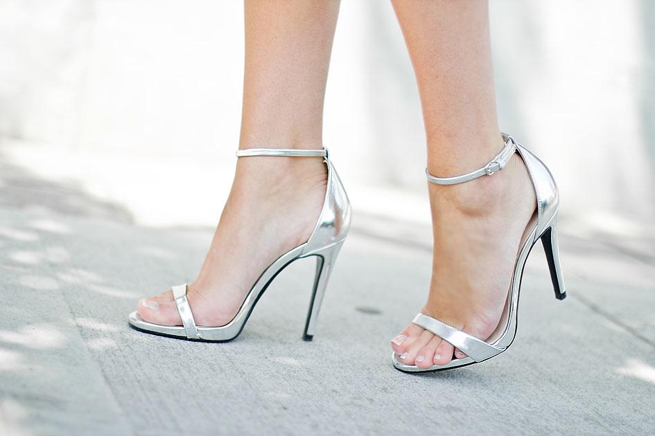 Zara Silver Ankle Strap Sandal