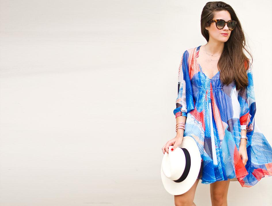 DVF Fleurette Printed Chiffon Kaftan Dress
