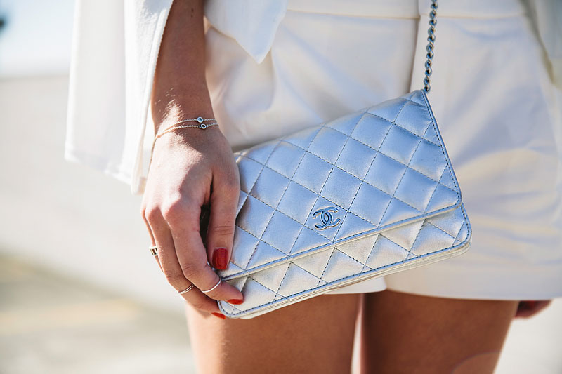 silver chanel crossbody handbag