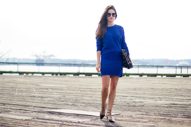 Cobalt Crop Sweater and Sweater Skirt