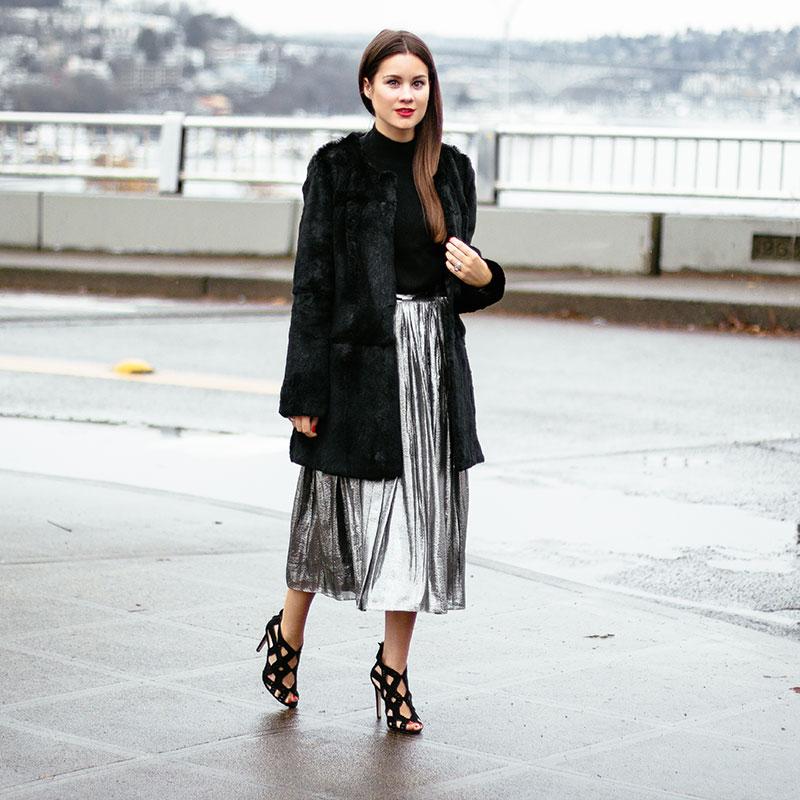 Alice + Olivia Metallic Pleated Skirt