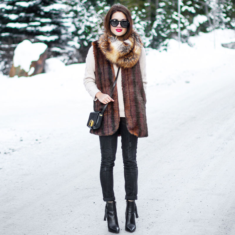 Fur Vest Whistler Canada Winter Travel Outfit