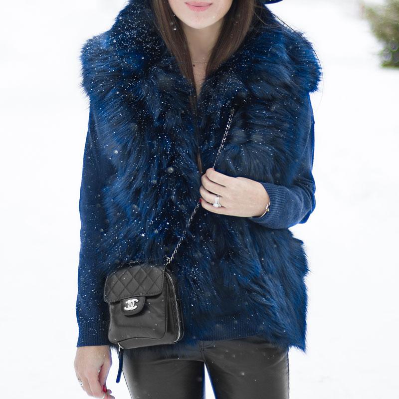 ADRIENNE LANDAU Navy Fox Fur Standing Collar Vest