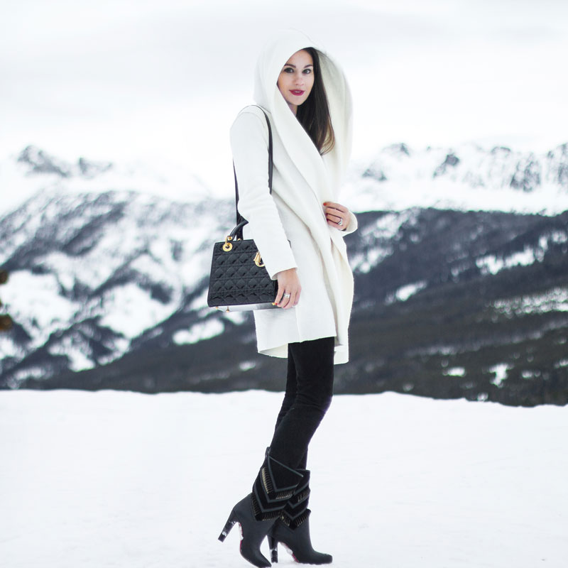 winter white wool coat Christian Dior Patent Leather Lady Dior Handbag Christian Louboutin black calf leather suede cutout Romy boots