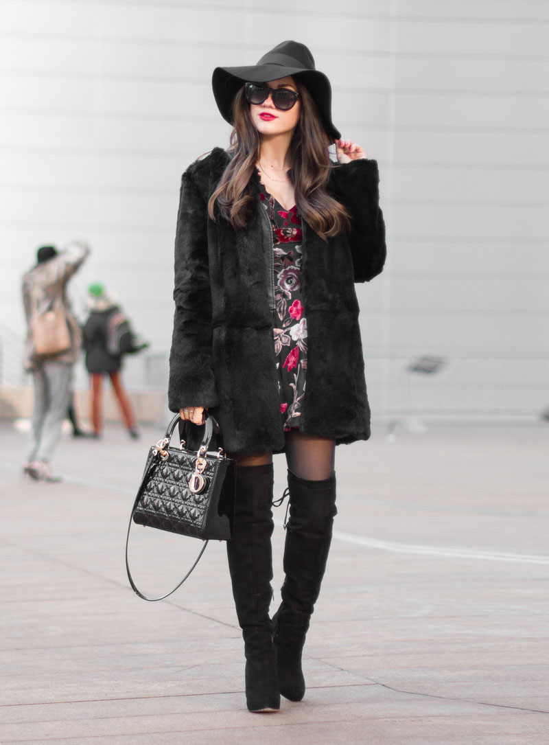 New York Fashion Week 2015 streetstyle Black Floral Print Dress 1