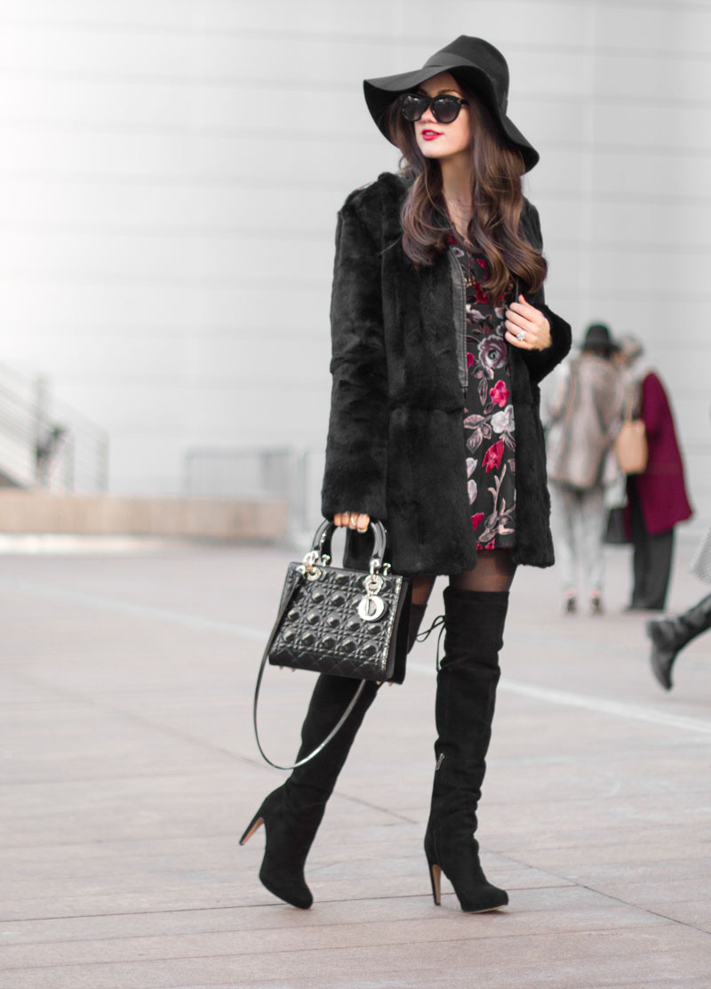 New York Fashion Week 2015 streetstyle Black Floral Print Dress