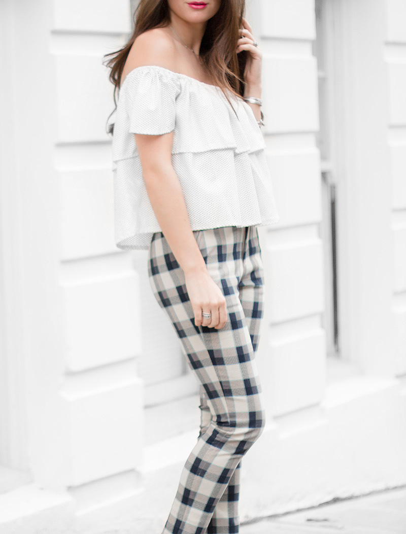 How to wear plaid pants Retro Off-The-Shoulder Top and Plaid Ankle Pants