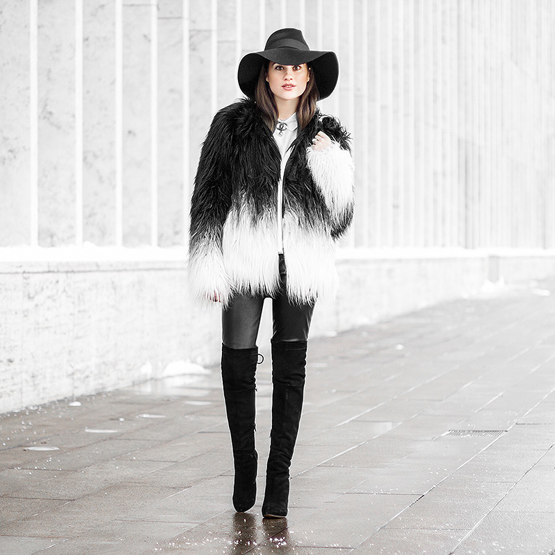 black white ombre fur jacket