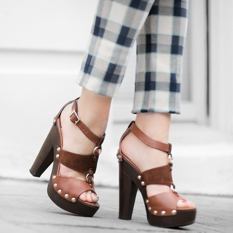 brown leather jimmy choo sandals Slim Plaid Ankle Pants