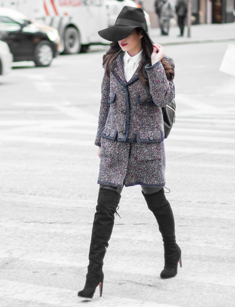 Chanel Blue Tweed Jacket Sartorial street style