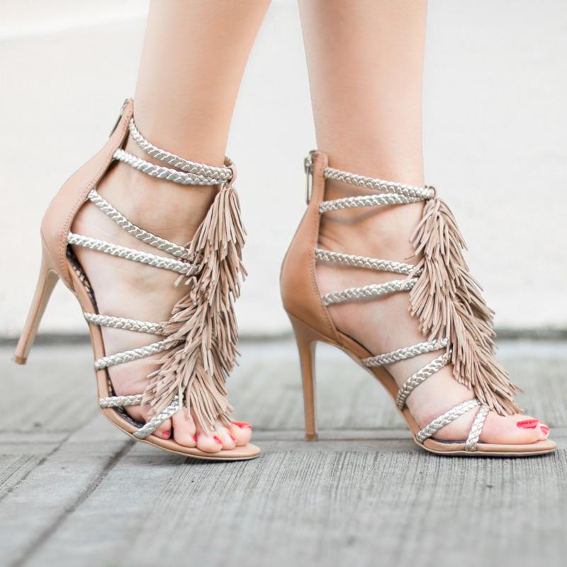 nude fringe sandals