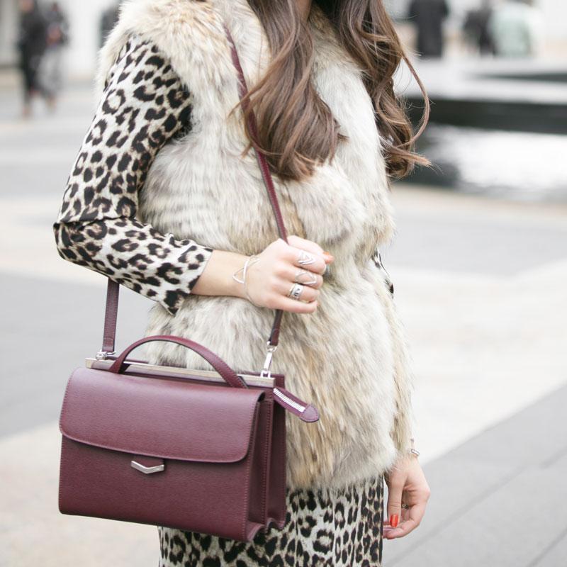 FENDI Burgundy Leather 'Demi Jour' Split Shoulder Bag