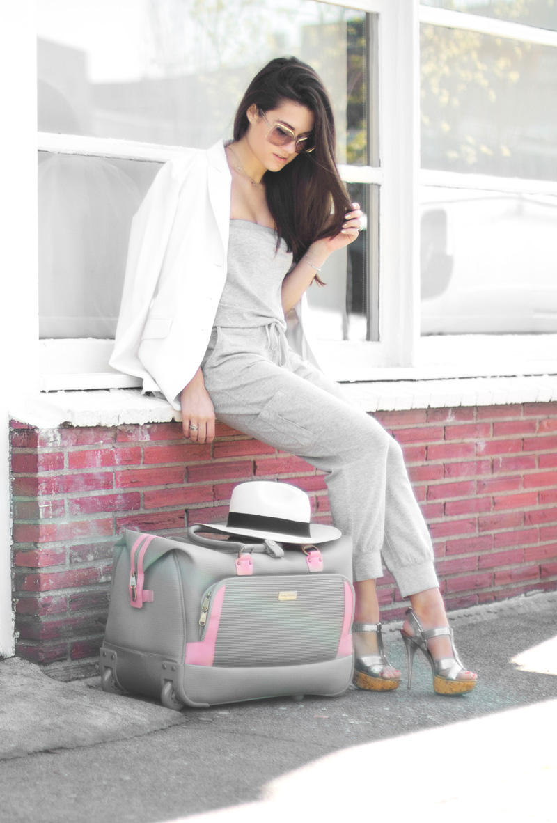 cute airport outfit ideas Grey Strapless Jumpsuit with drawstring waist summer travel outfit