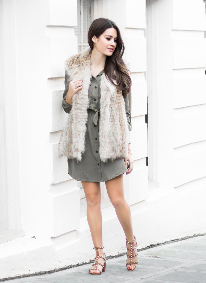 how to wear khaki military shirt dress trend