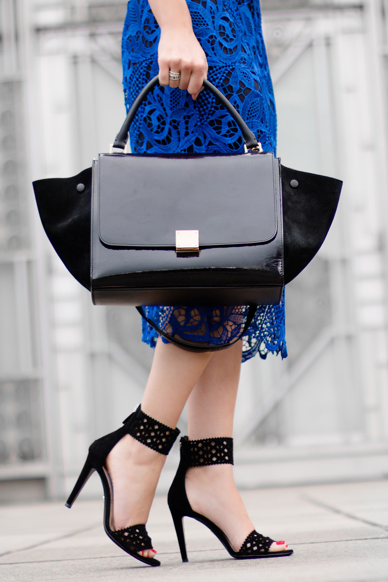 Céline Trapeze Handbag Royal Blue Lace Overlay Sleeveless Dress PRADA Black Suede Leather Cutout Detail Pumps2