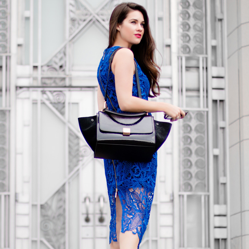 Céline Trapeze Handbag Wyatt Royal Blue Lace Overlay Sleeveless Dress