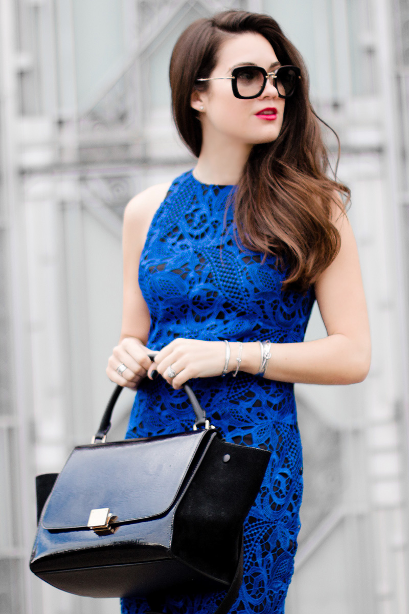 Céline Trapeze Handbag Wyatt Royal Blue Lace Overlay Sleeveless Dress1