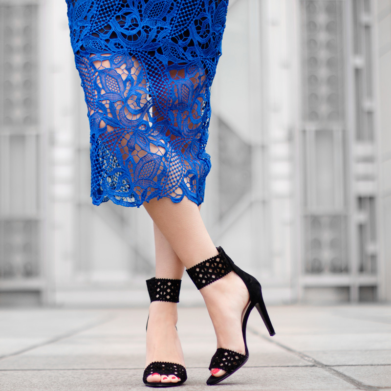 Royal Blue Lace Overlay Sleeveless Dress PRADA Black Suede Leather Cutout Detail Pumps