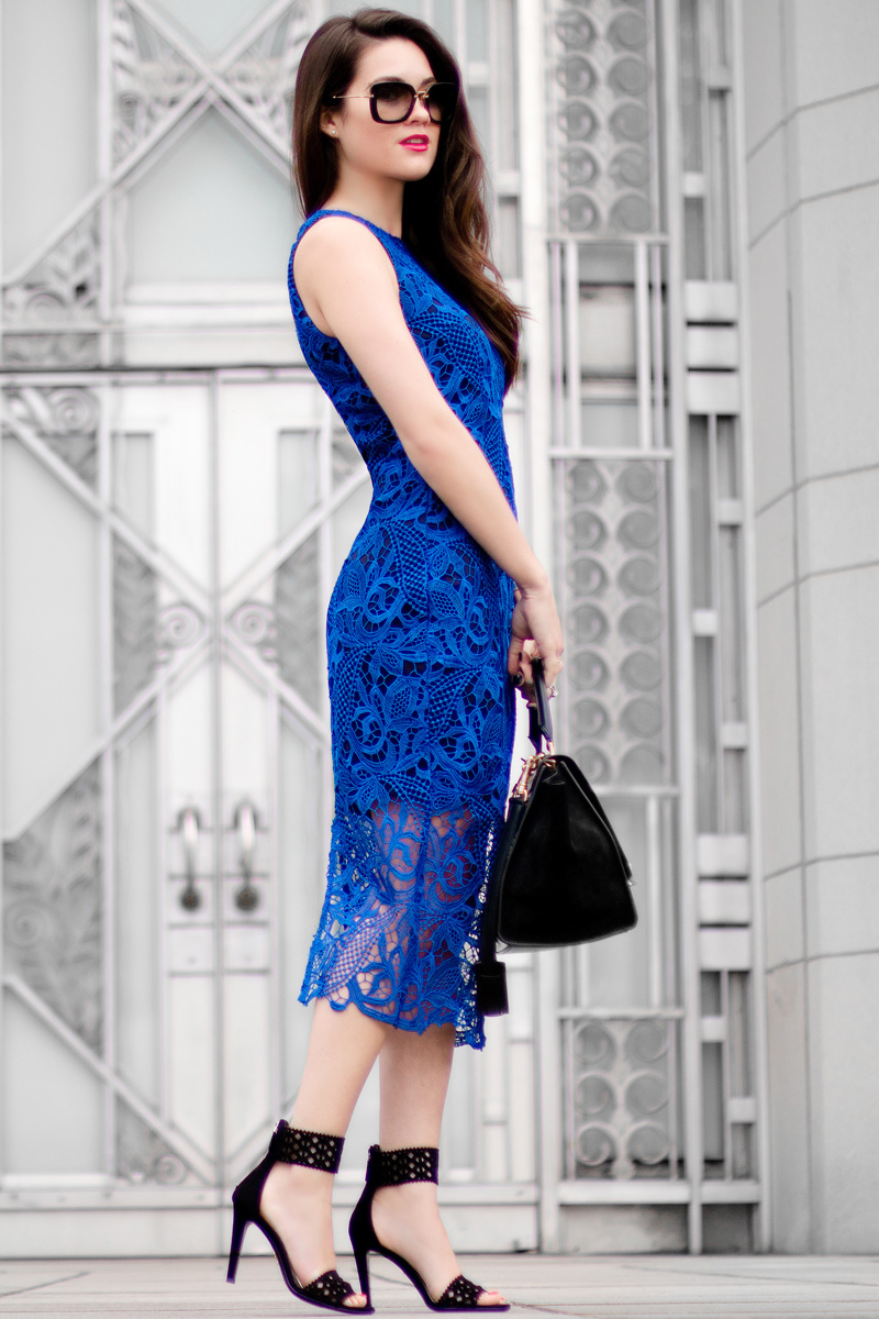 Royal Blue Lace Overlay Sleeveless Dress PRADA Black Suede Leather Cutout Detail Pumps Céline Trapeze Handbag