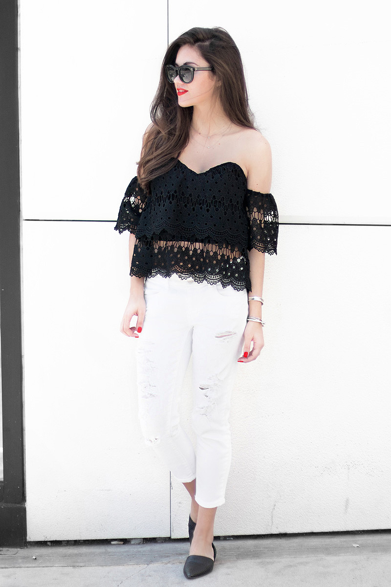 lace off the shoulder crop top Shopping on Rodeo Drive in Beverly Hills