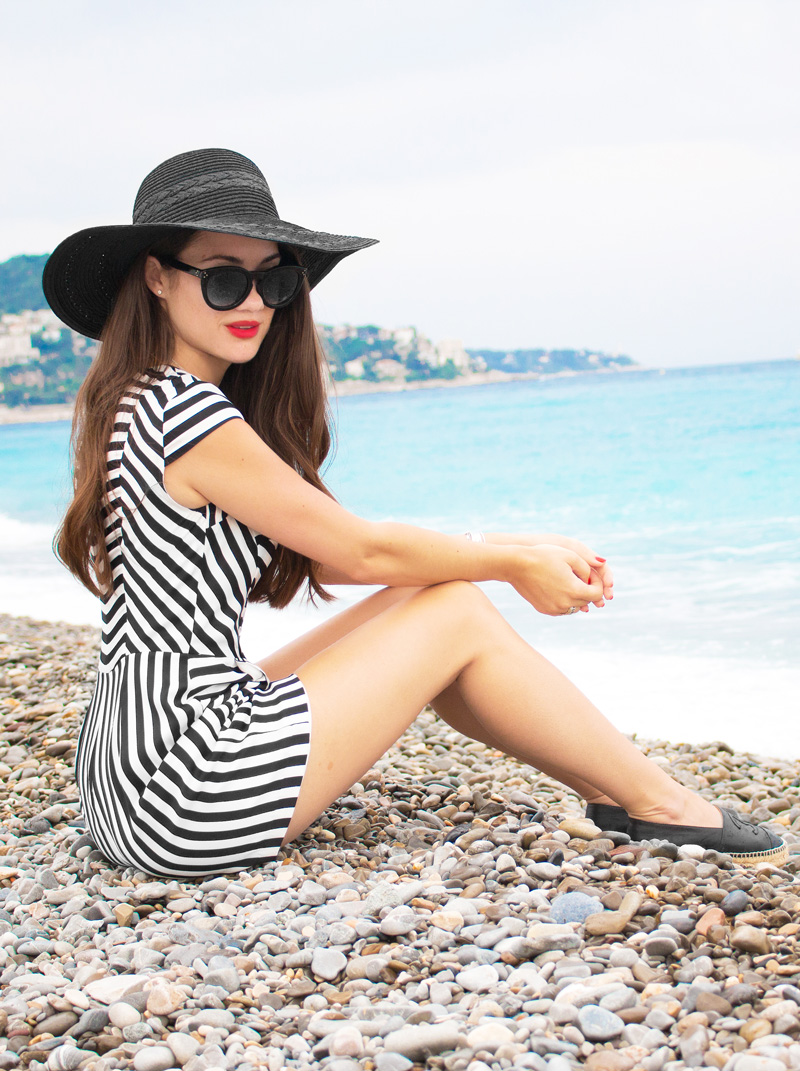 black and white striped crepe cap sleeve romper Nice France French Riviera Baie des Anges