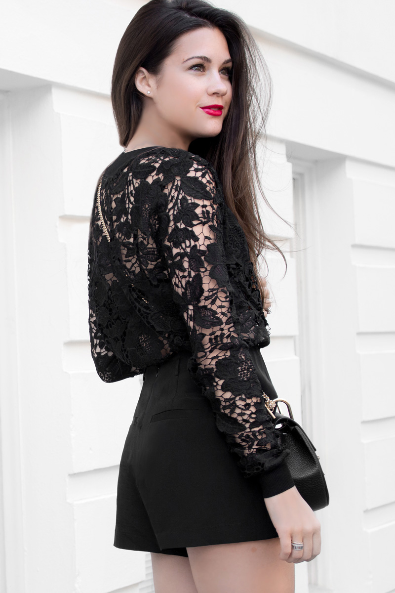 black floral lace long sleeve top