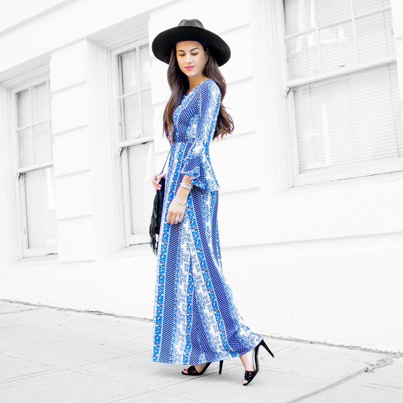 Bell Sleeve Patterned Maxi Dress
