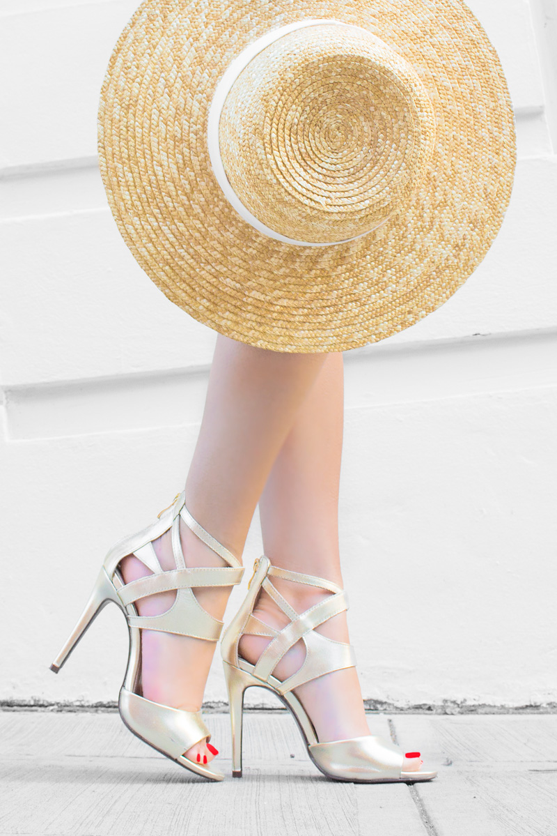Hardy Design Works open-toe sandal in shiny metallic leather Wide-brimmed straw hat