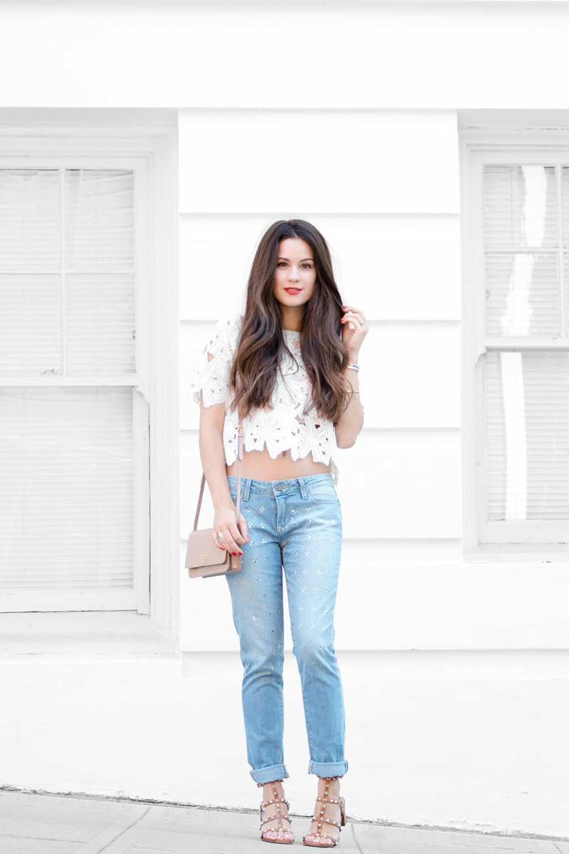 Lace Crop Blouse and Embellished Women's Jeans outfit